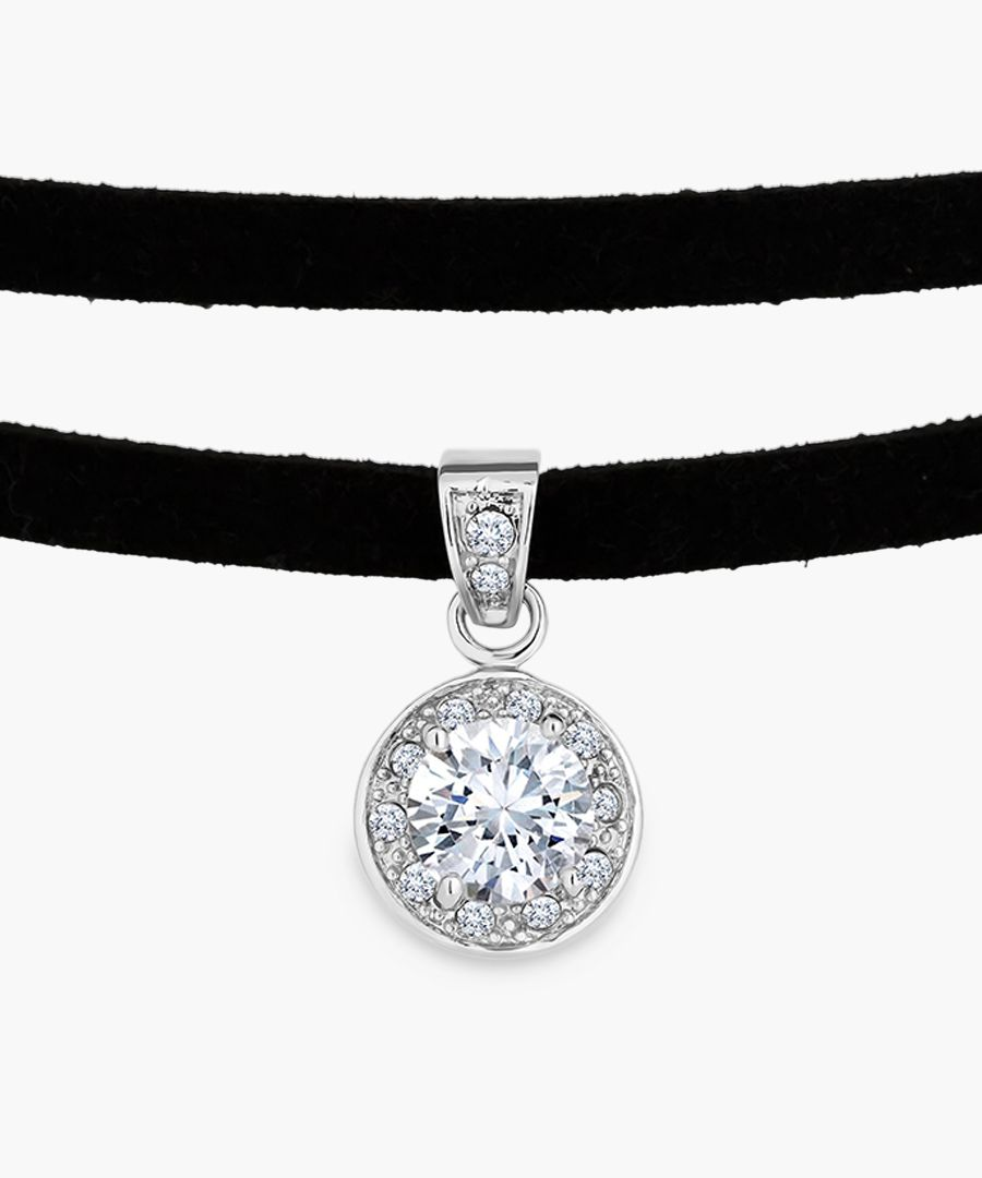 Crystal 14k white gold-plated choker