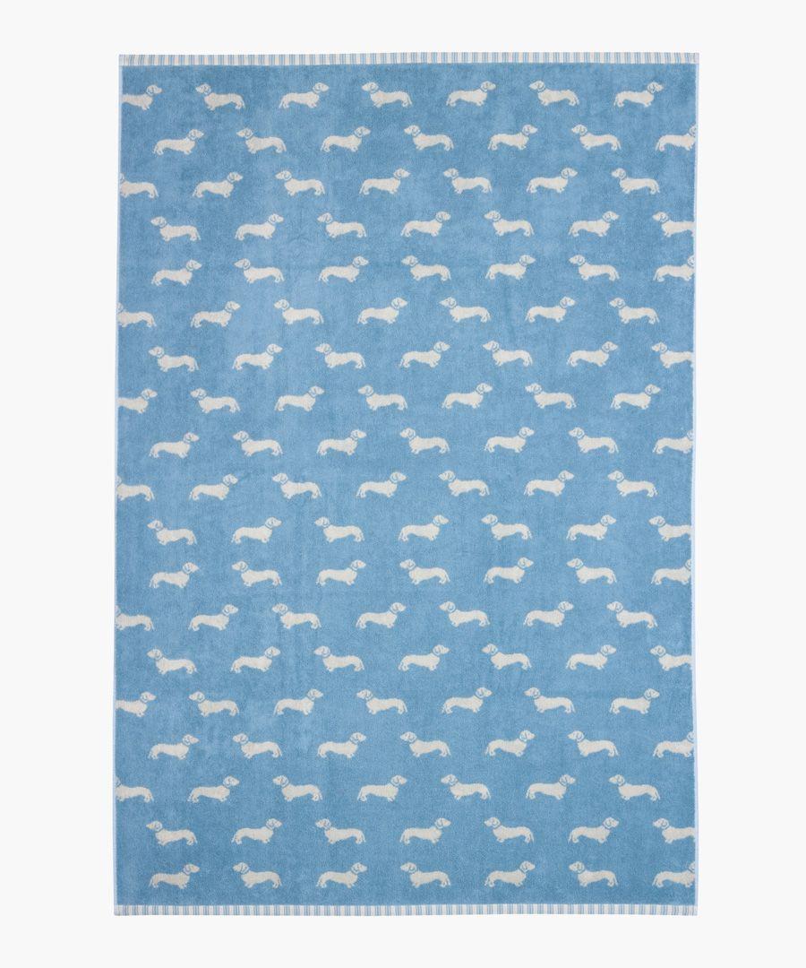 Blue Dachshund cotton sheet towel