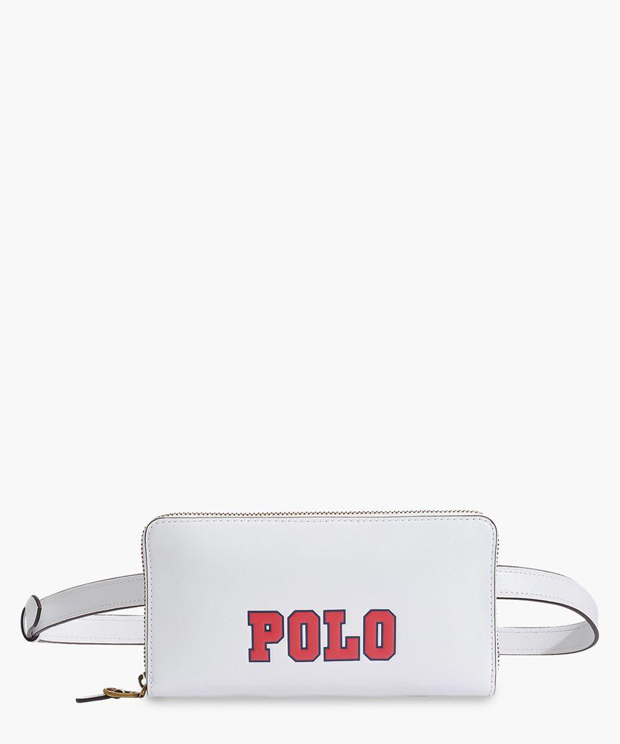 Varsity white leather logo belt bag