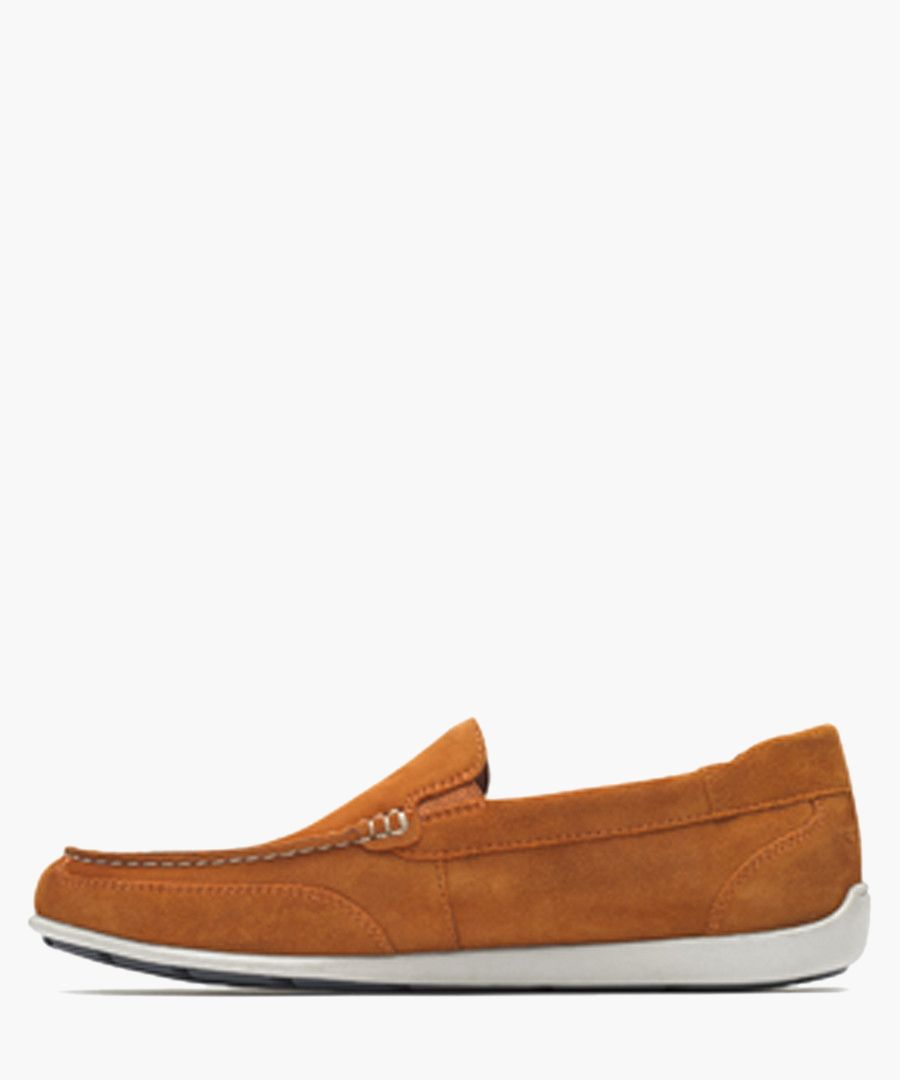 Venetian burnt orange suede loafers
