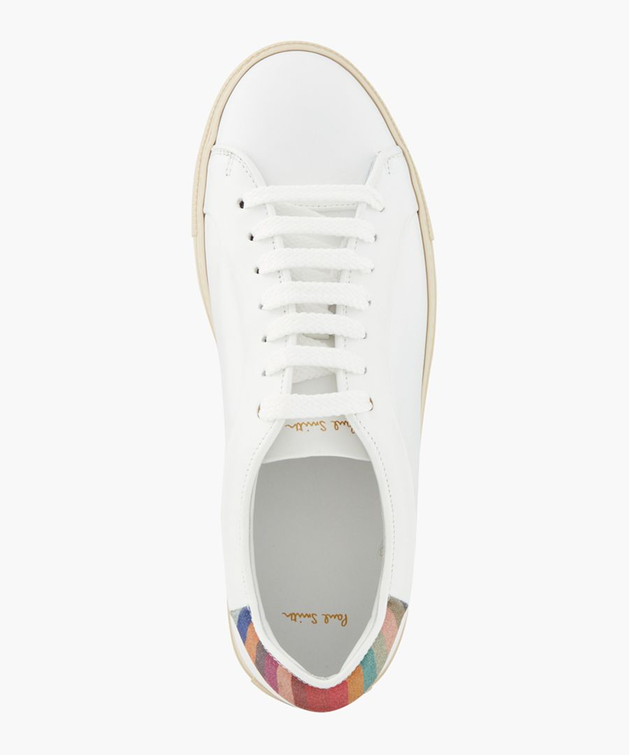 White leather rabbit printed sneakers