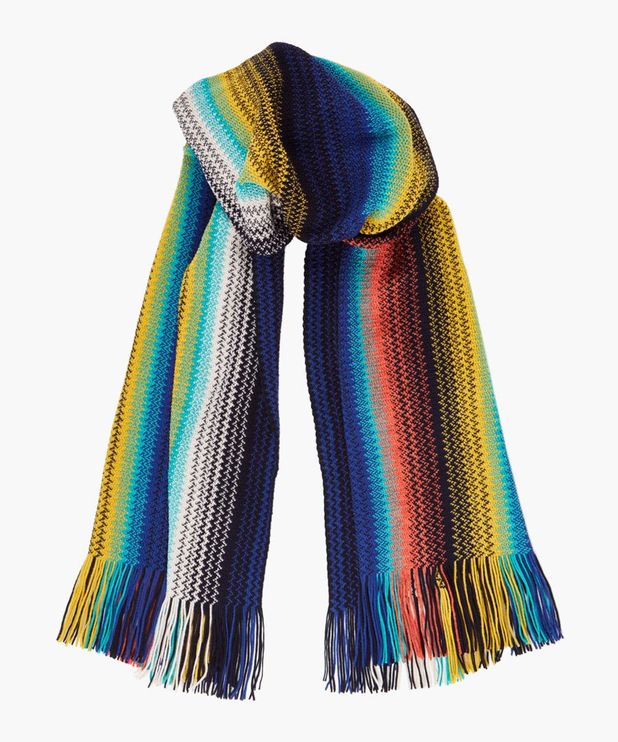 Multi-coloured patterned wool-blend scarf