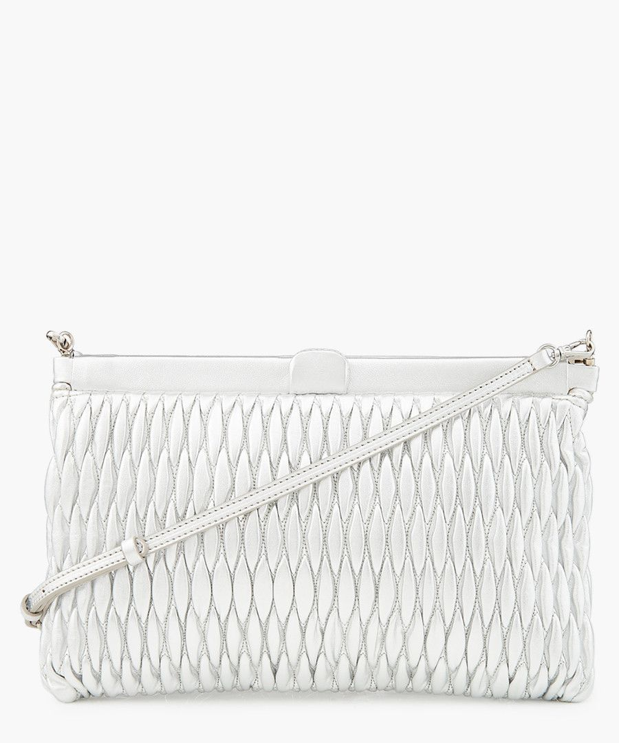Matelasse silver-tone textured leather  bag