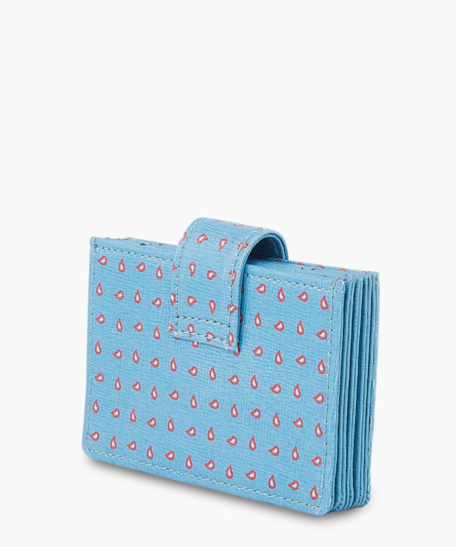 Blue leather printed wallet