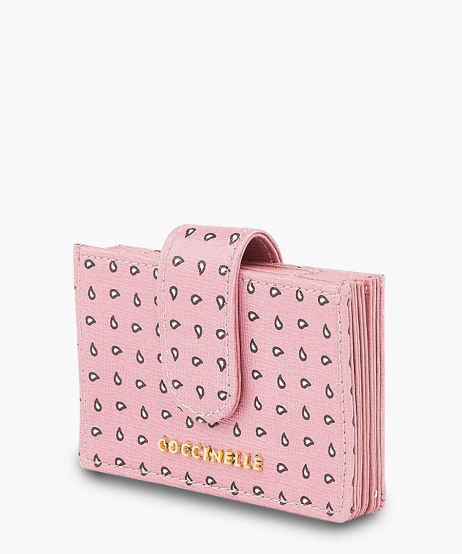 Pink leather printed wallet