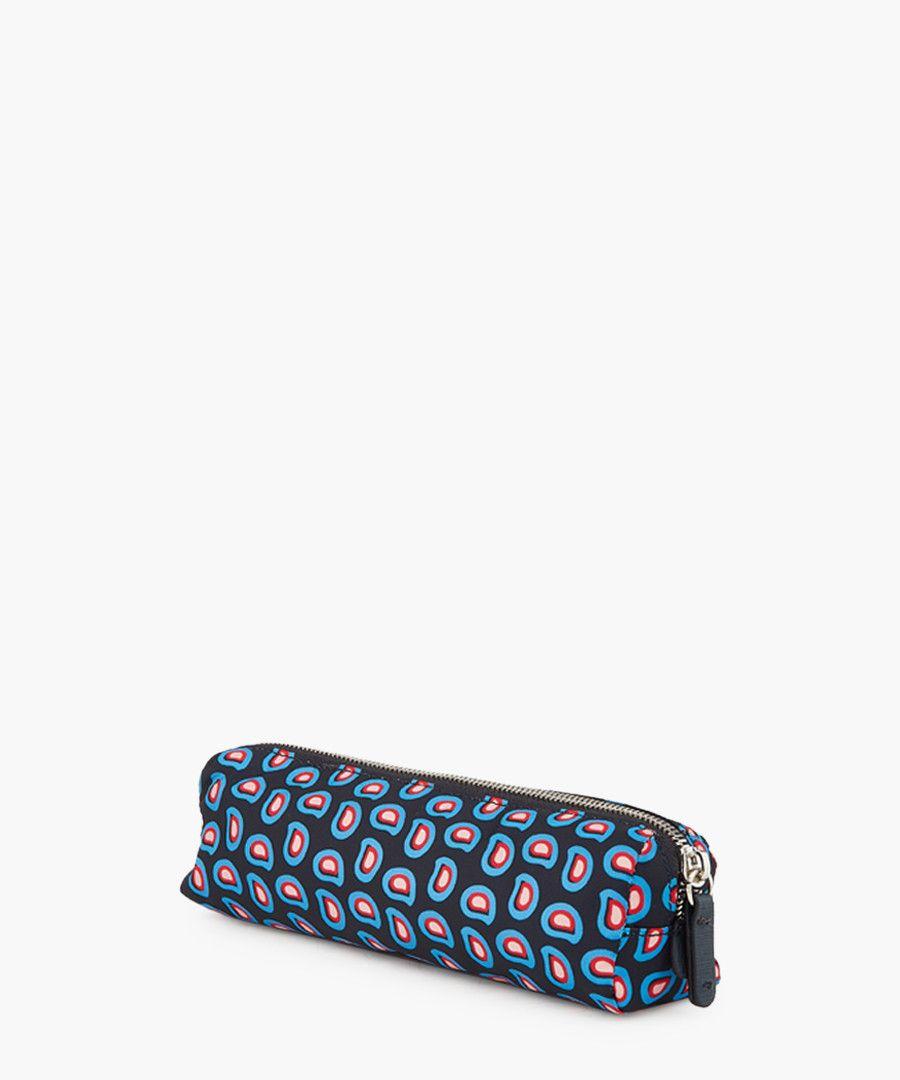 Blue leather trim printed bag