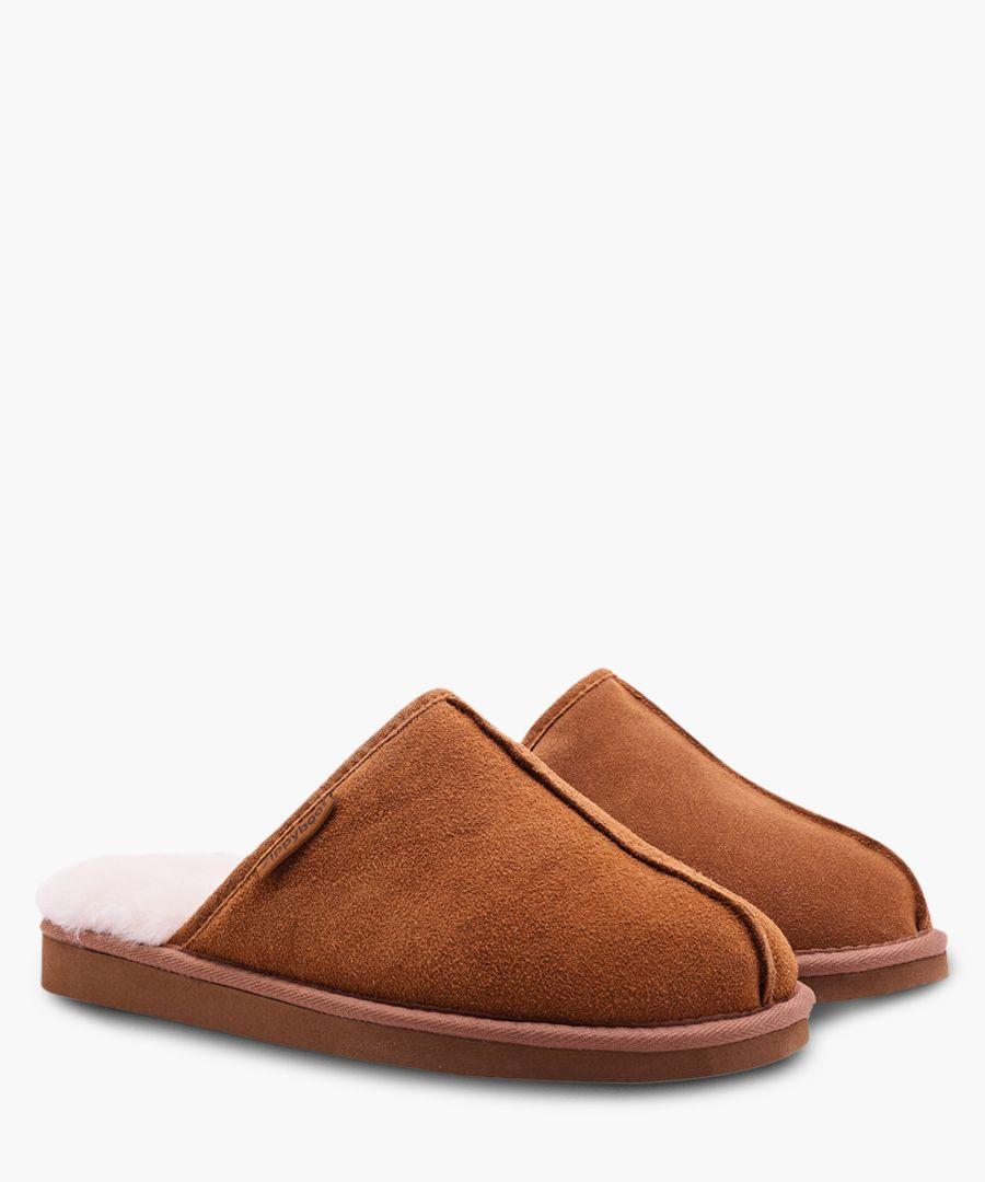 Tan sheepskin slippers