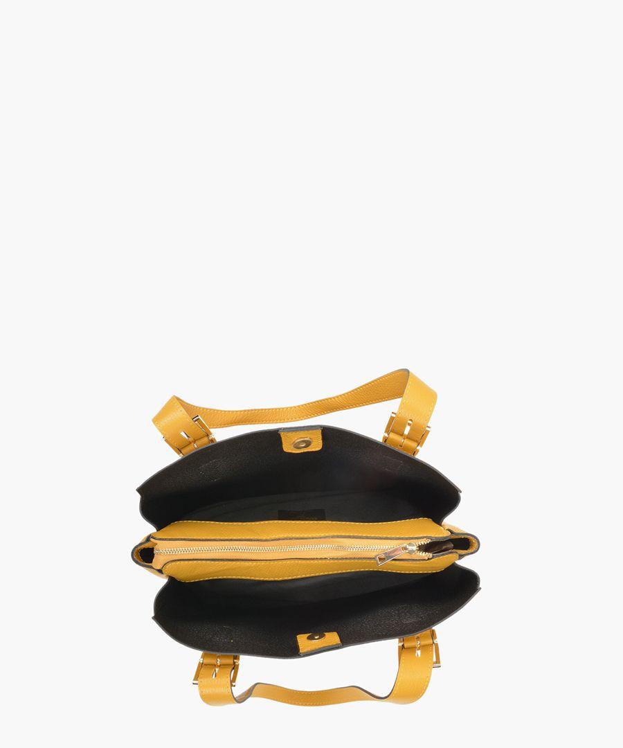 Yellow leather shopper