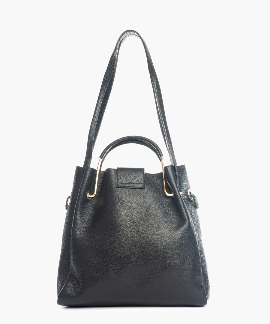 Santa Fiora black leather bucket bag