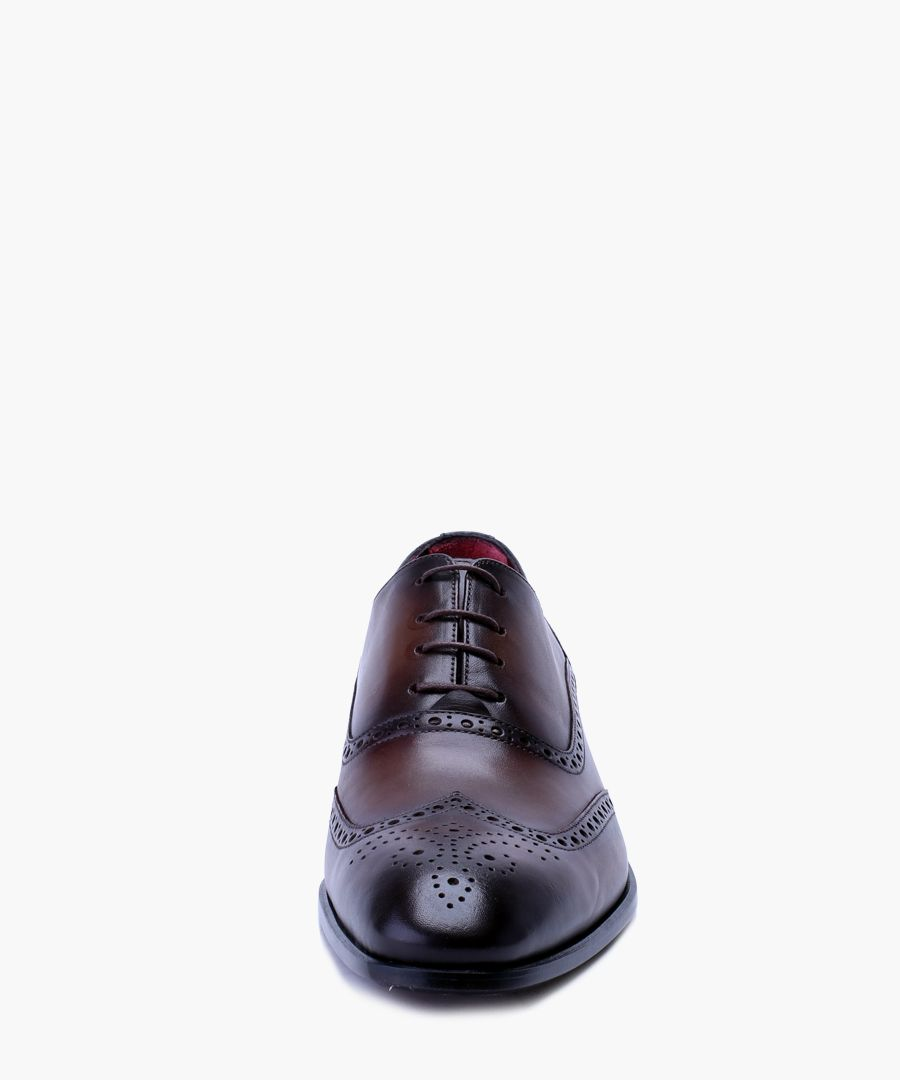 Brown leather oxford brogue shoes