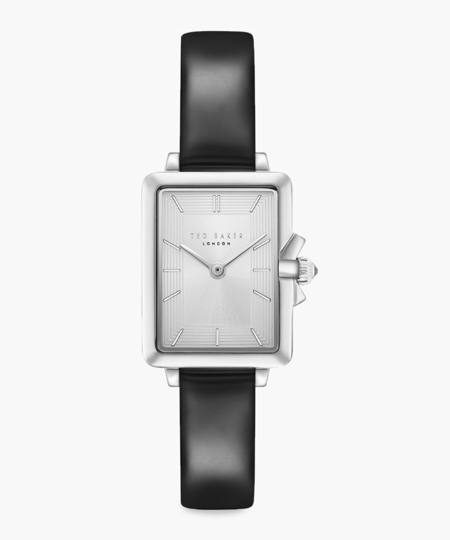 Tess black leather and stainless steel watch
