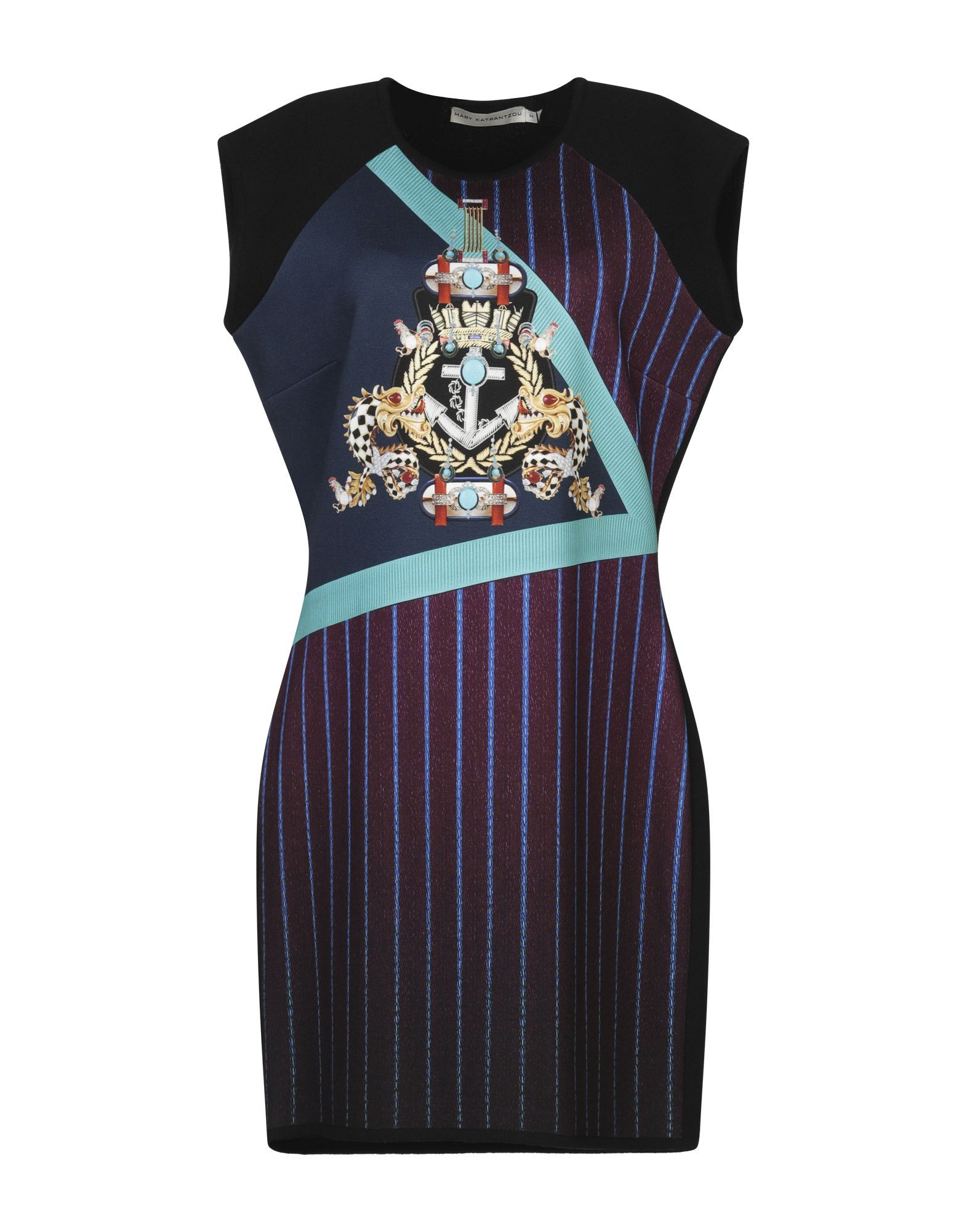 Mary Katrantzou Deep Purple Print Wool Sleeveless Dress