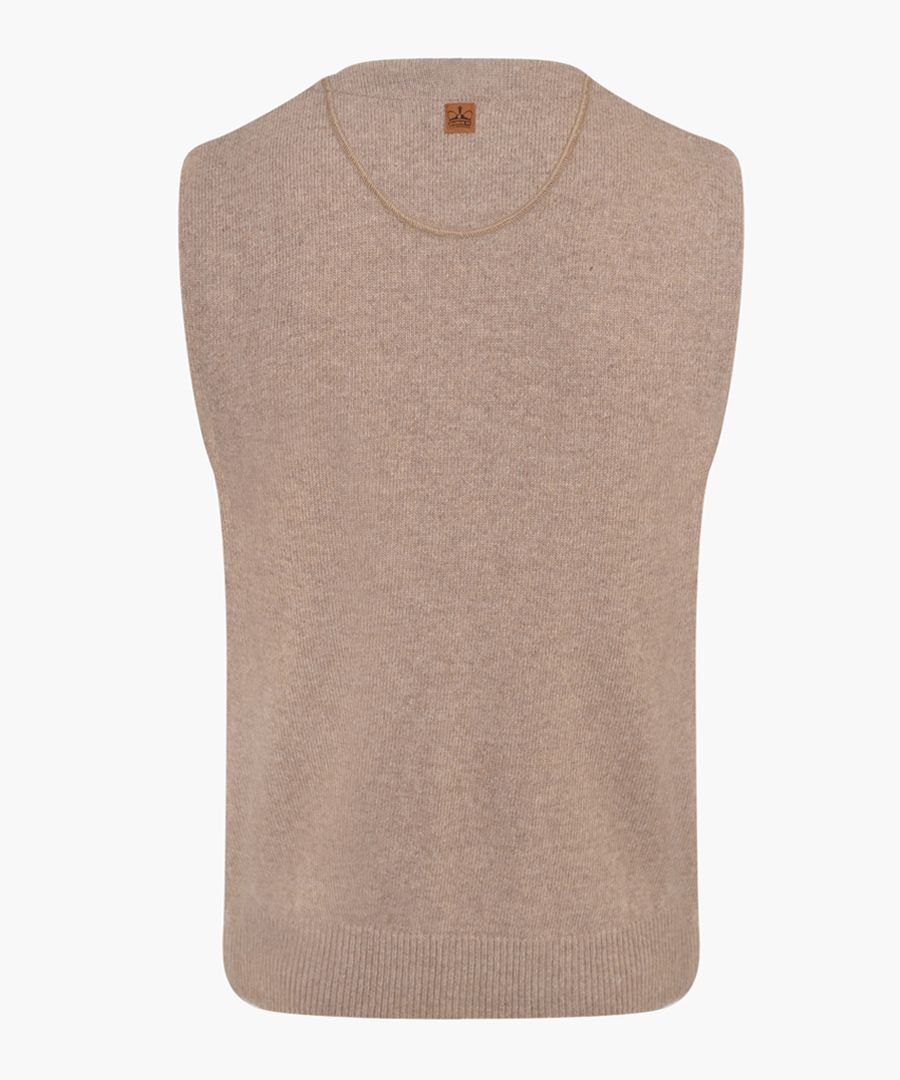 Caramel lambswool blend knitted waistcoat