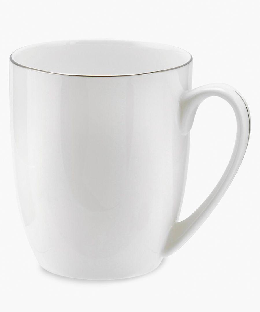 4pc Serendipity platinum band bone china barrel shape mugs