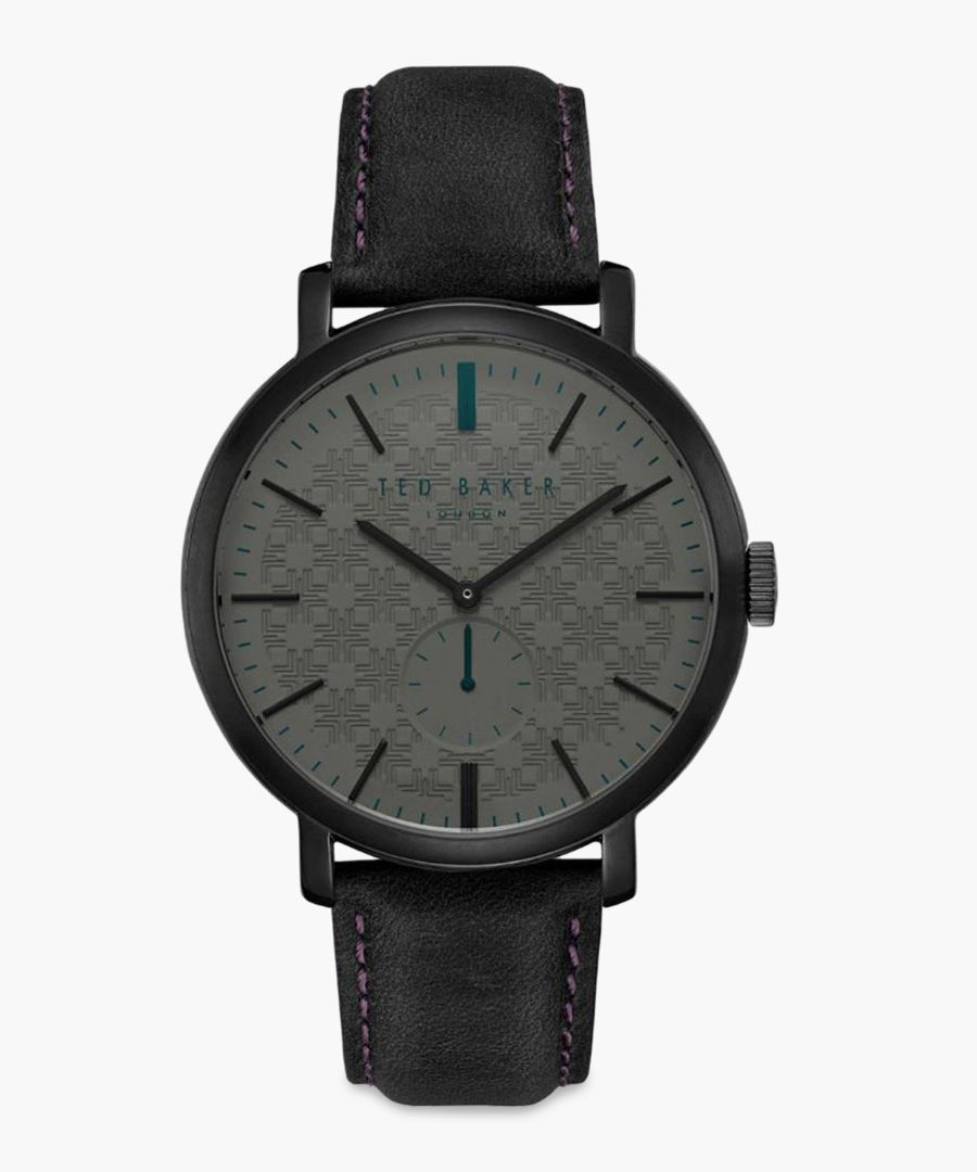 Trent black leather and stainless steel watch