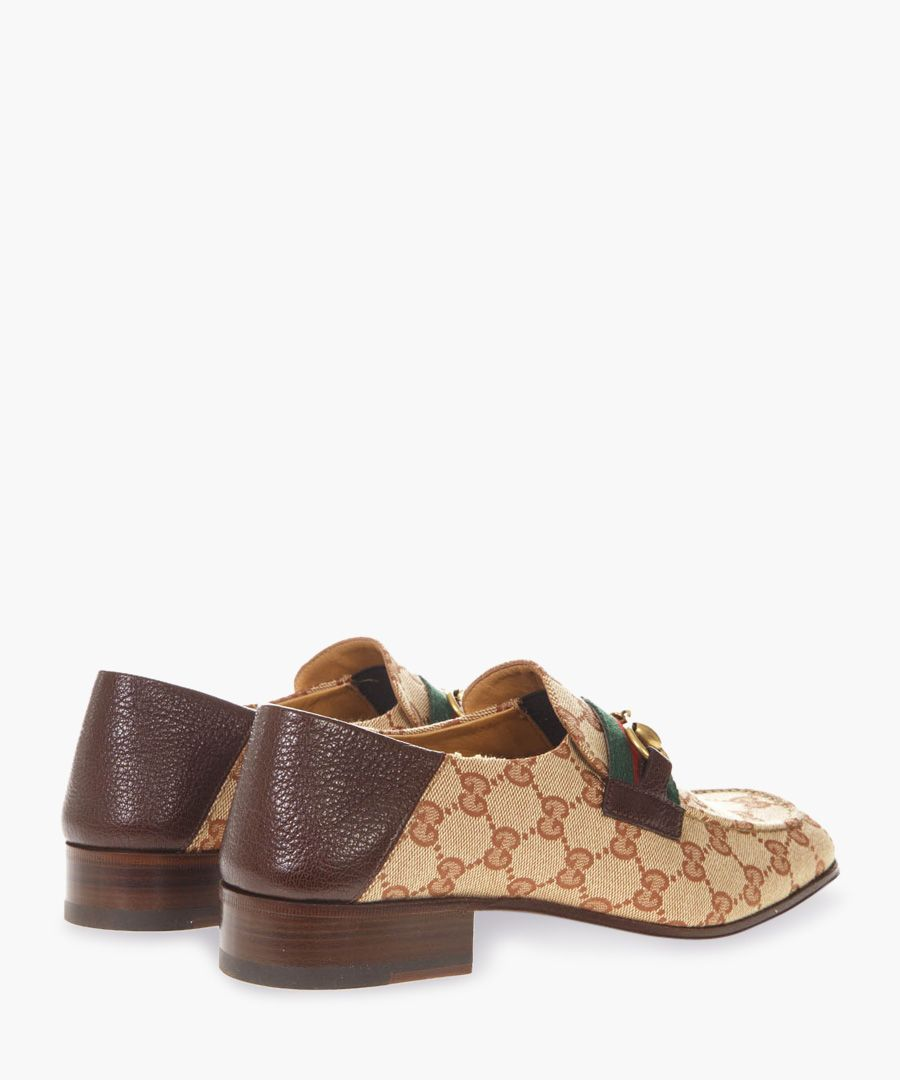GG brown leather and canvas loafers