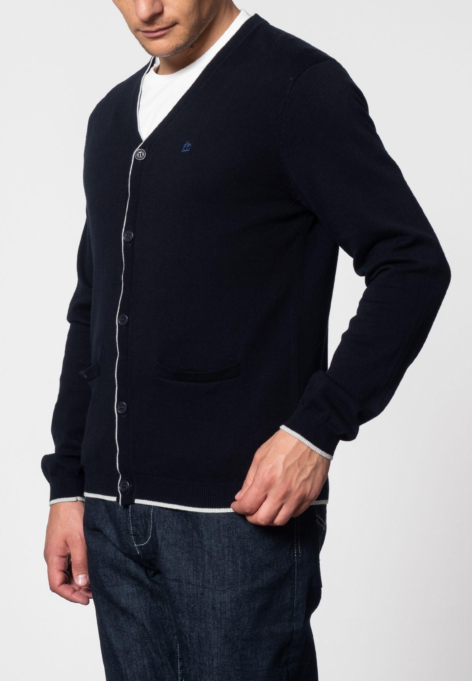 Ryan V-Neck Tipped Cardigan In Dark Navy