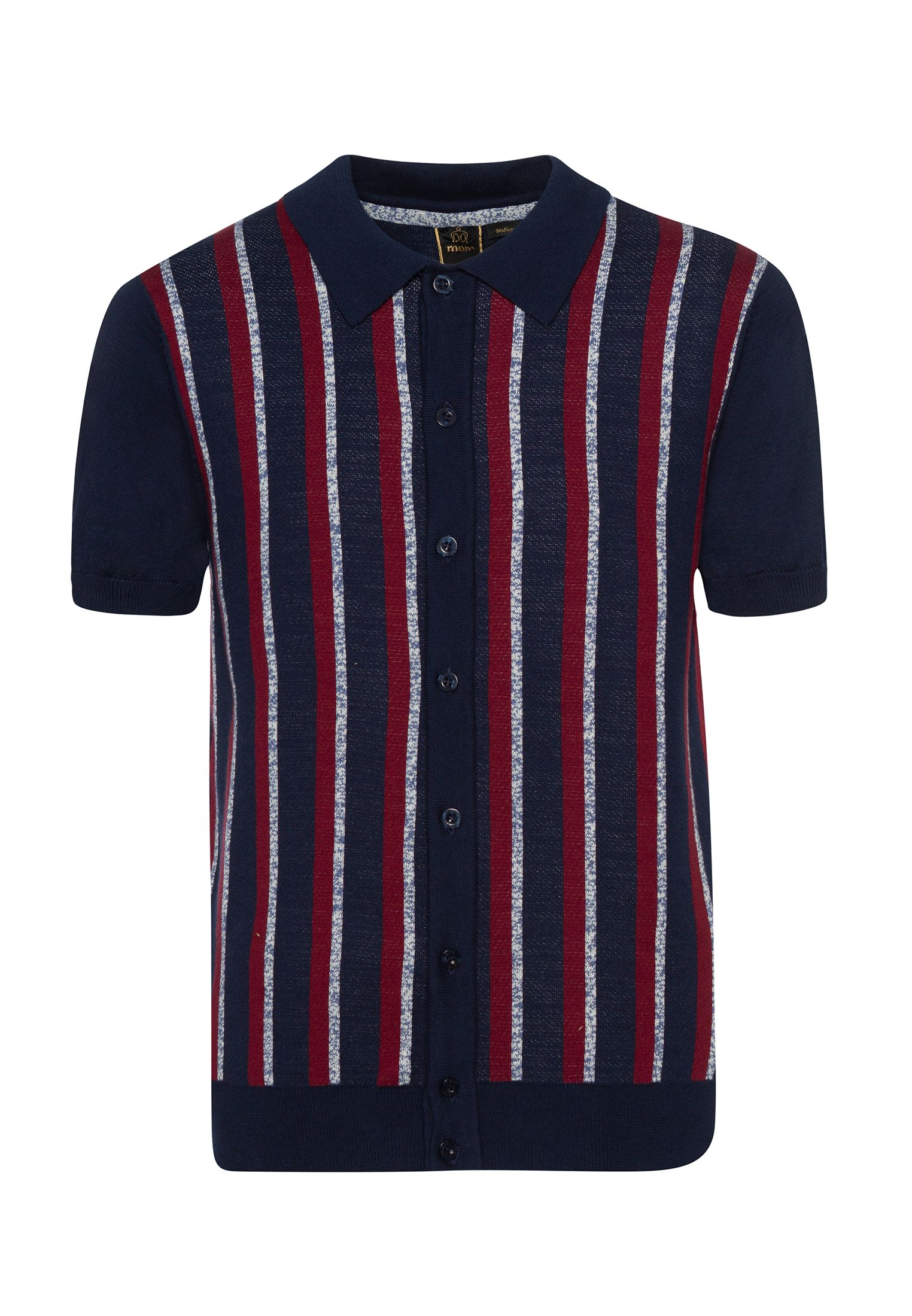 Wilmot Vertical Stripes Knit Polo In Navy