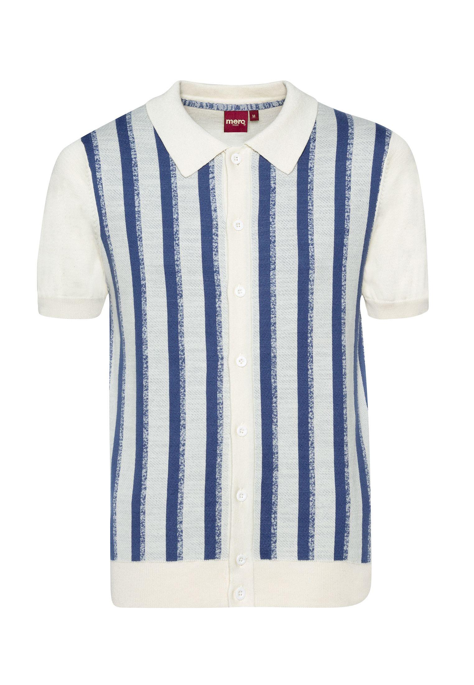 Wilmot Vertical Stripes Knit Polo In Cream