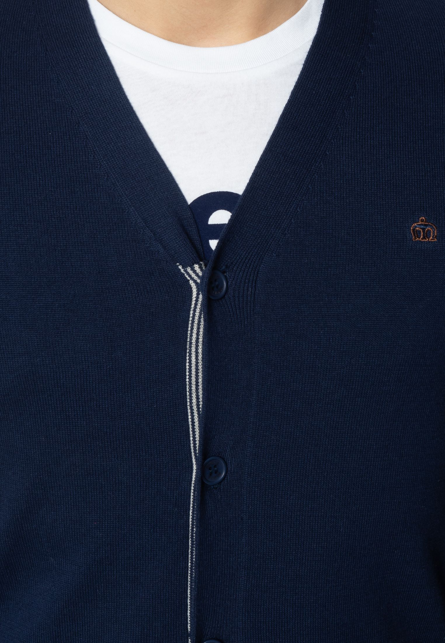 Beckton Mens Fine Knitted Cotton Cardigan With Tipped Details In Navy