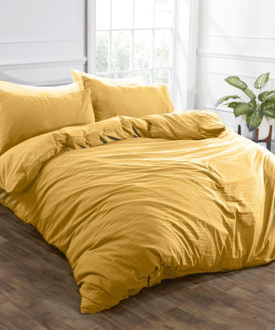 Ochre washed linen-style single duvet set