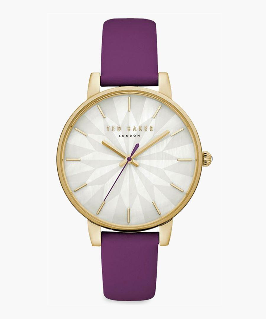 Kate purple leather and stainless steel watch