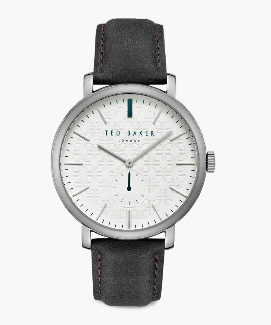 Trent silver-tone leather and stainless steel watch