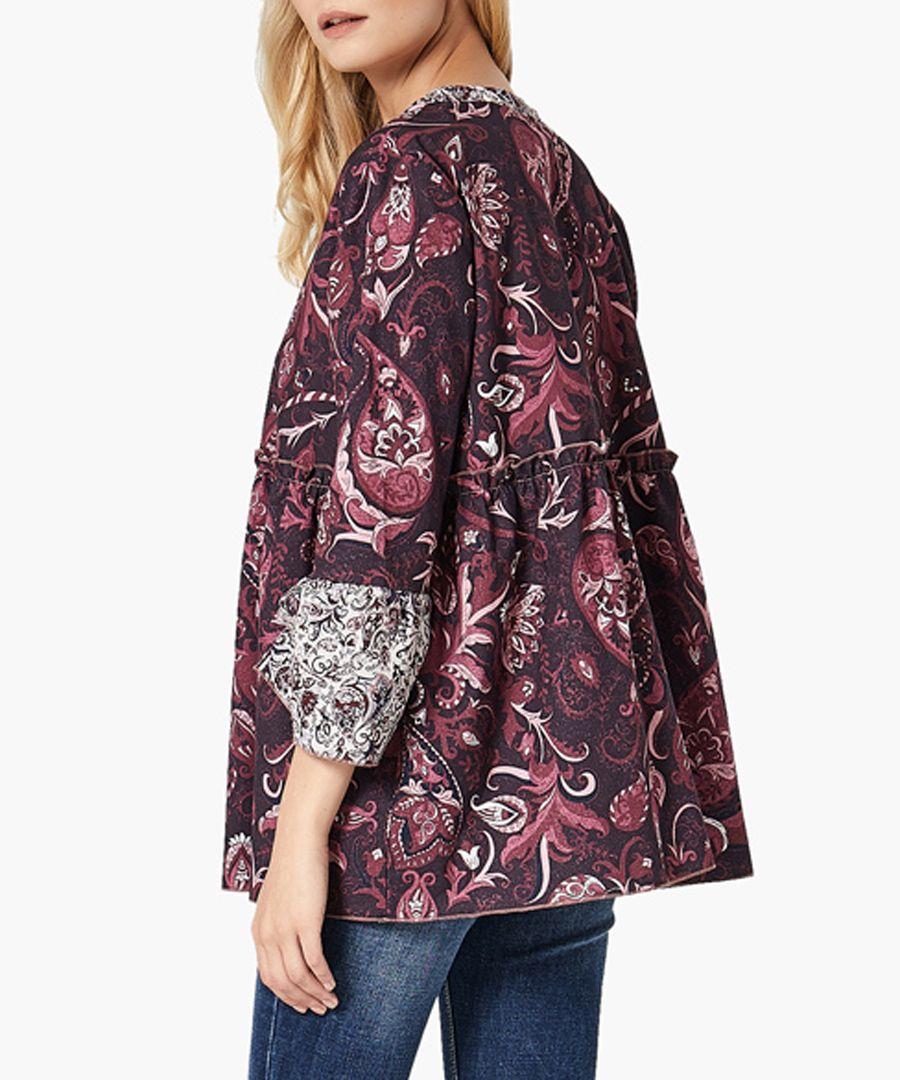 Print mix woven shirt