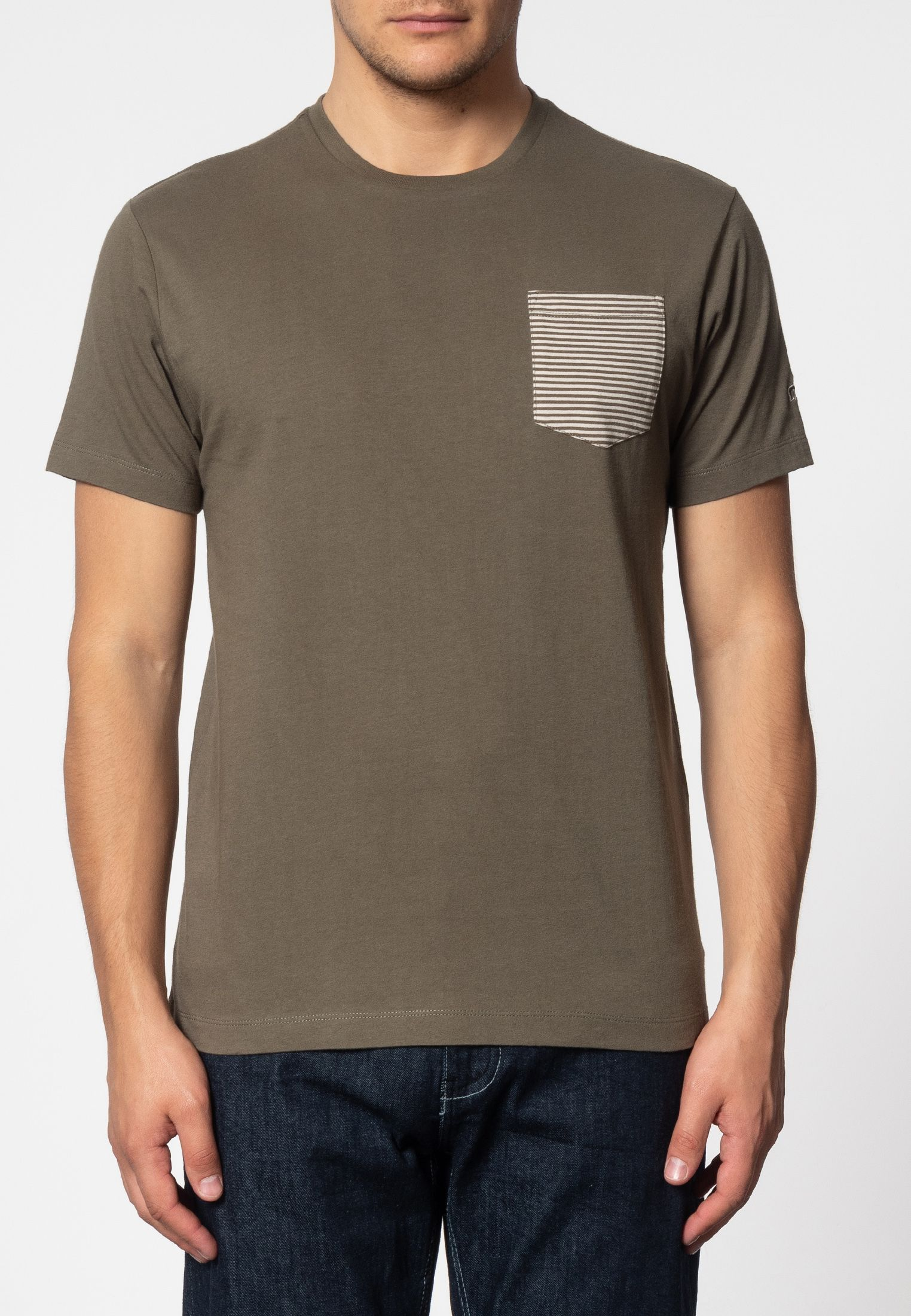 Eagle Short Sleeve T-Shirt With Stripe Pocket In Dark Sage