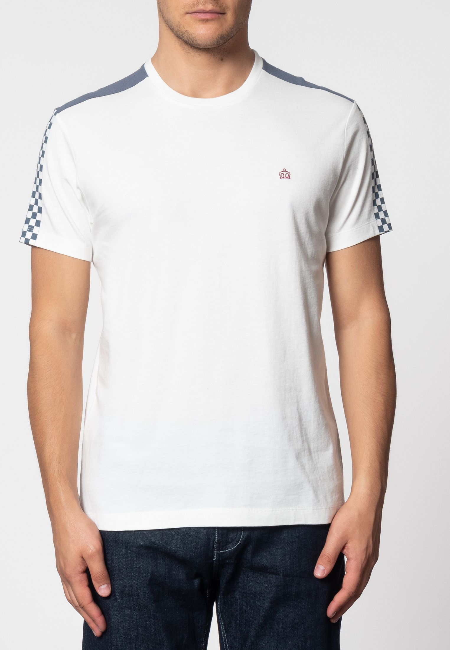 Hillgate Ska Print T-Shirt With Short Sleeves And Round Neck Collar In Off White