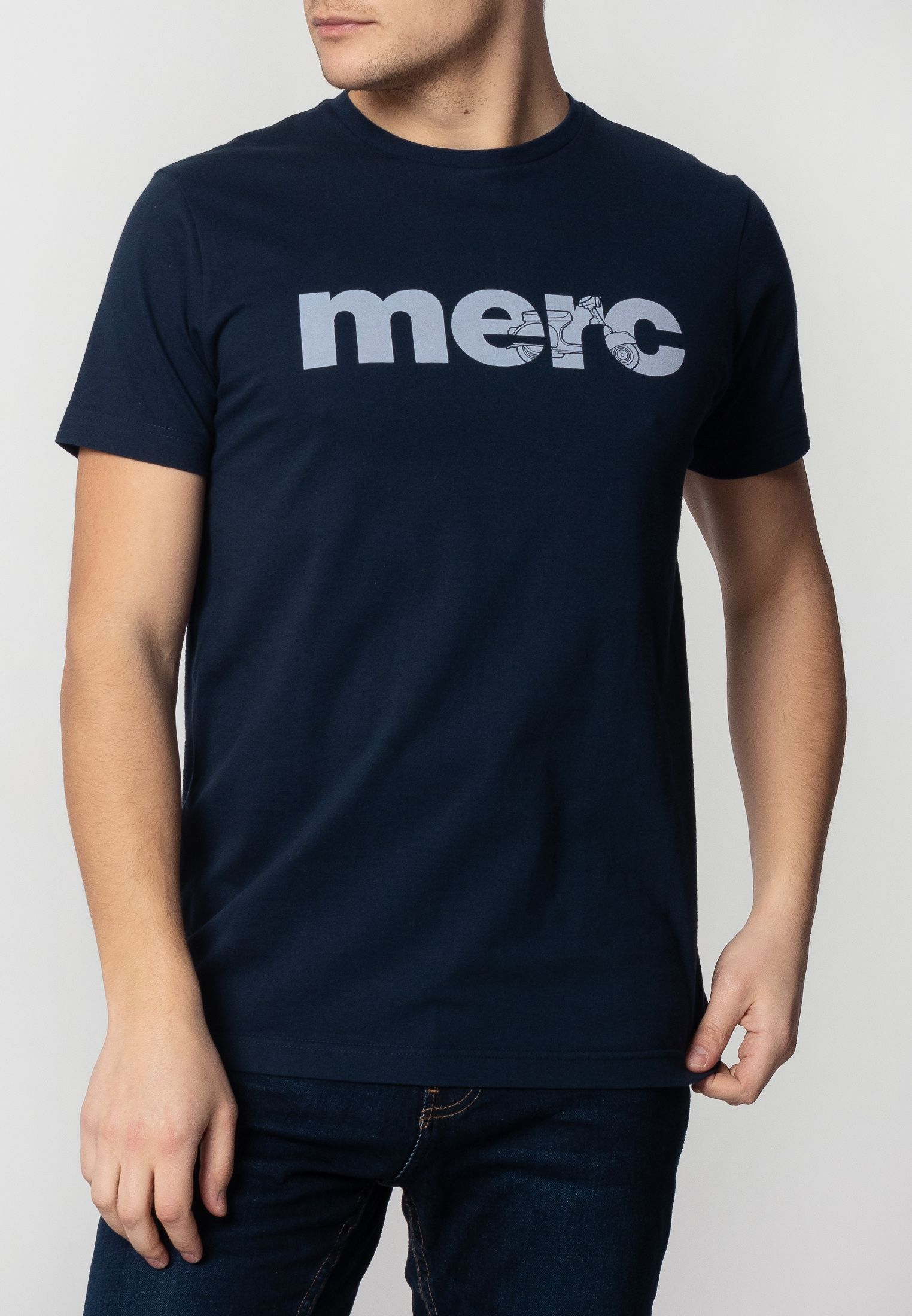 Walker Mens Cotton T-Shirt With Branded Print In Navy