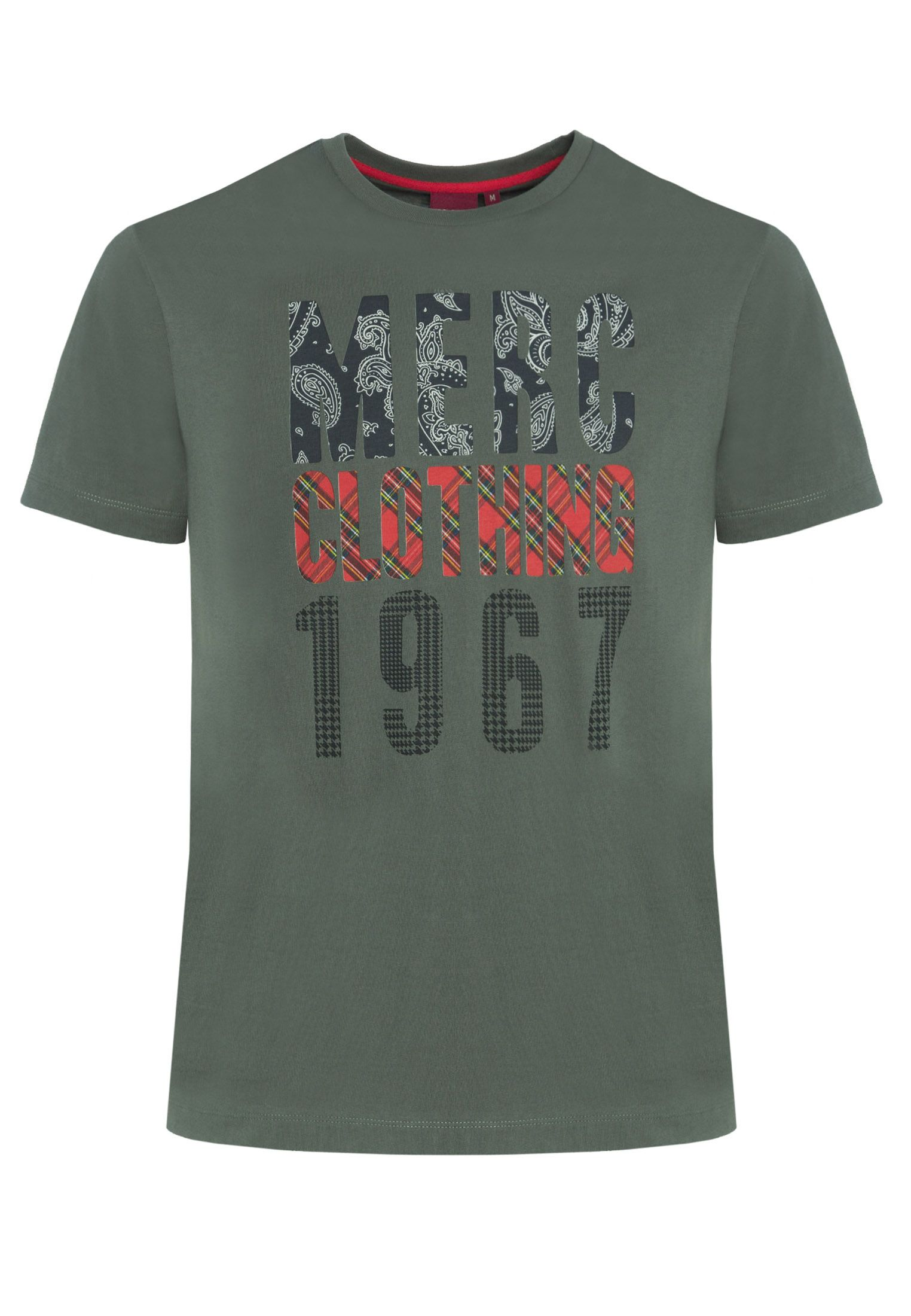 Malcolm Mens Cotton T-Shirt With Branded Print In Combat Green