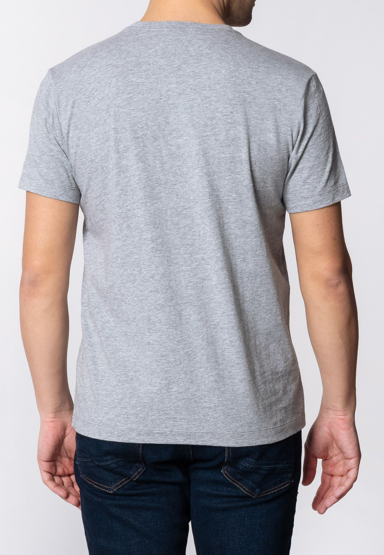 Porter Mens Cotton T-Shirt With Large Music Poster Print In Grey Marl