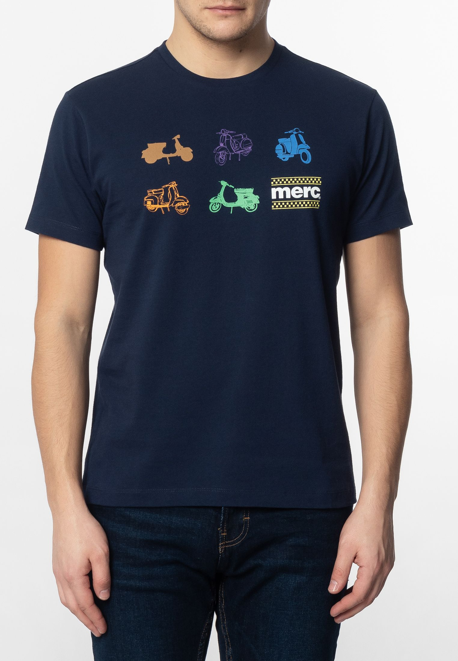 Halford Mens Cotton T-Shirt With Small Scooters Icons Print In Navy