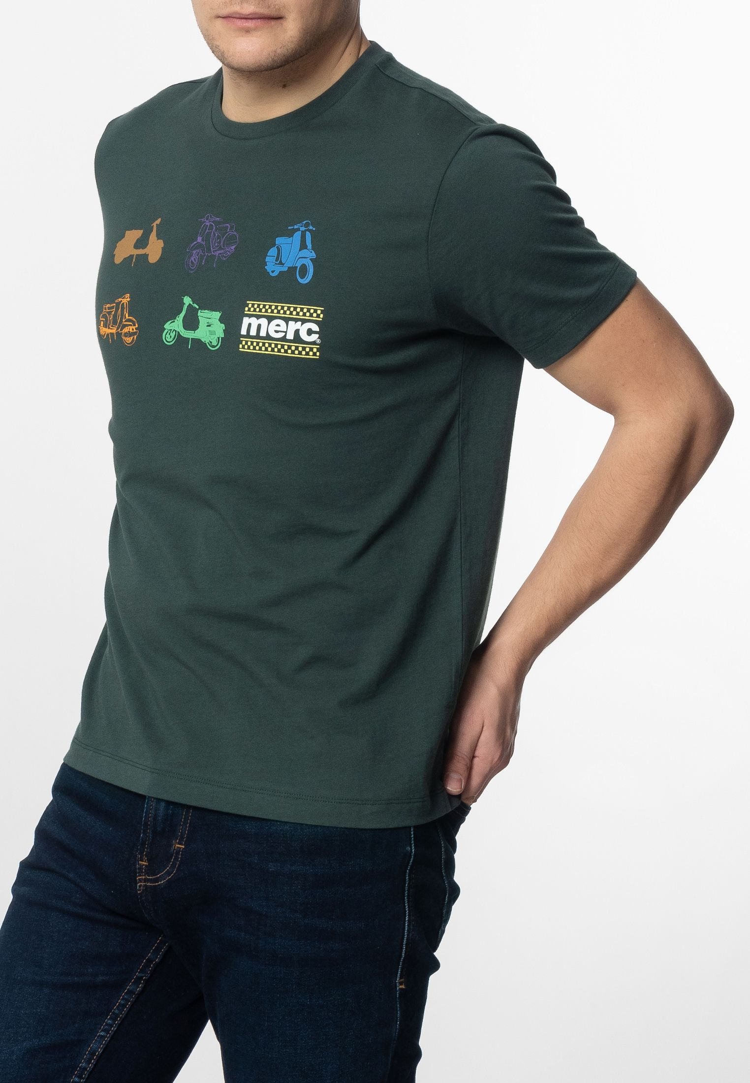 Halford Mens Cotton T-Shirt With Small Scooters Icons Print In Bottle Green