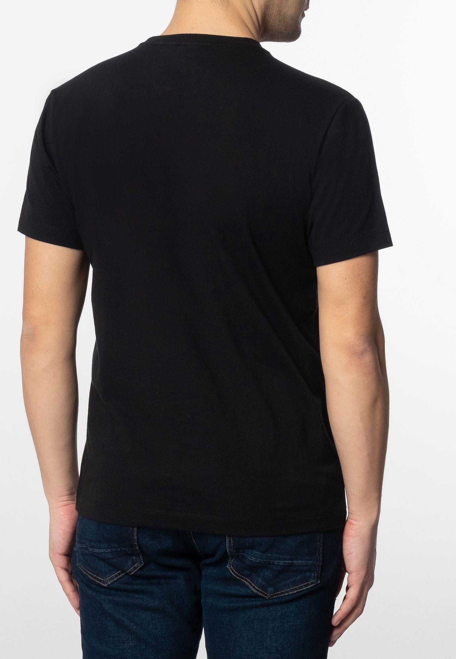 Brett Mens Cotton T-Shirt With Pier Photo Print In Black