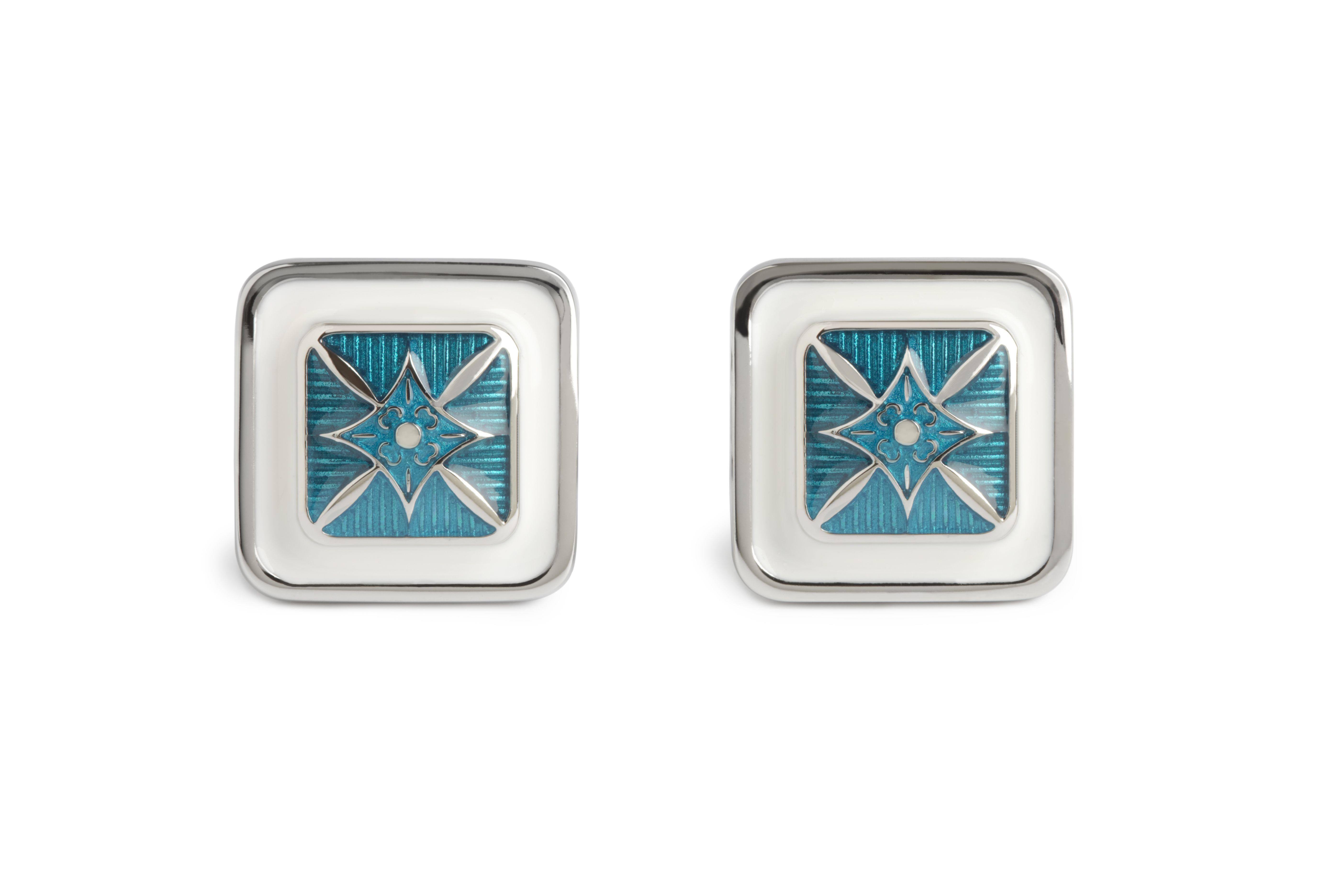 Blue Star Square Cufflinks