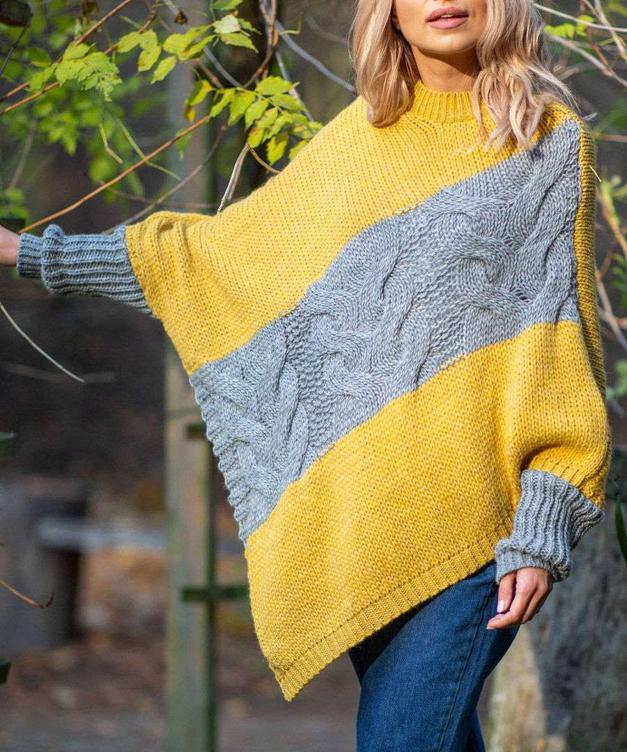 Ceylon yellow knitted alpaca and wool blend poncho