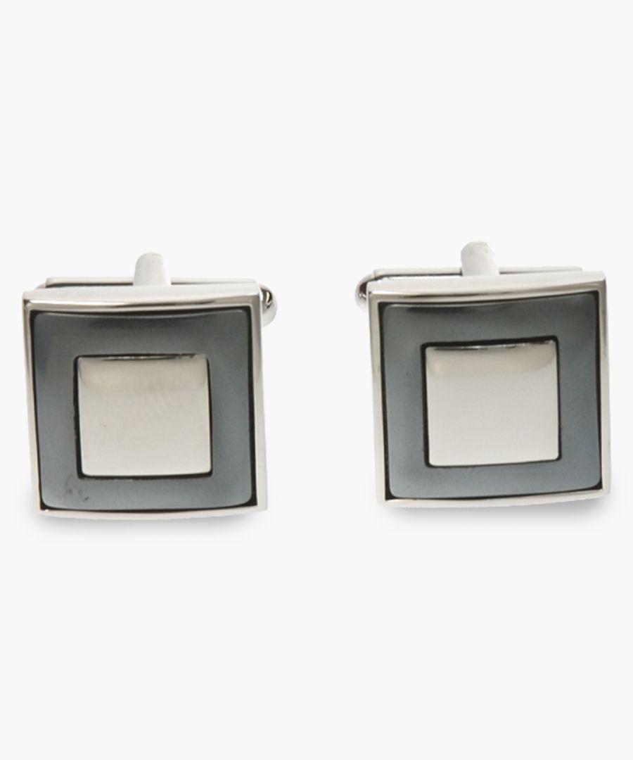Silver-plated moat haematite cufflinks