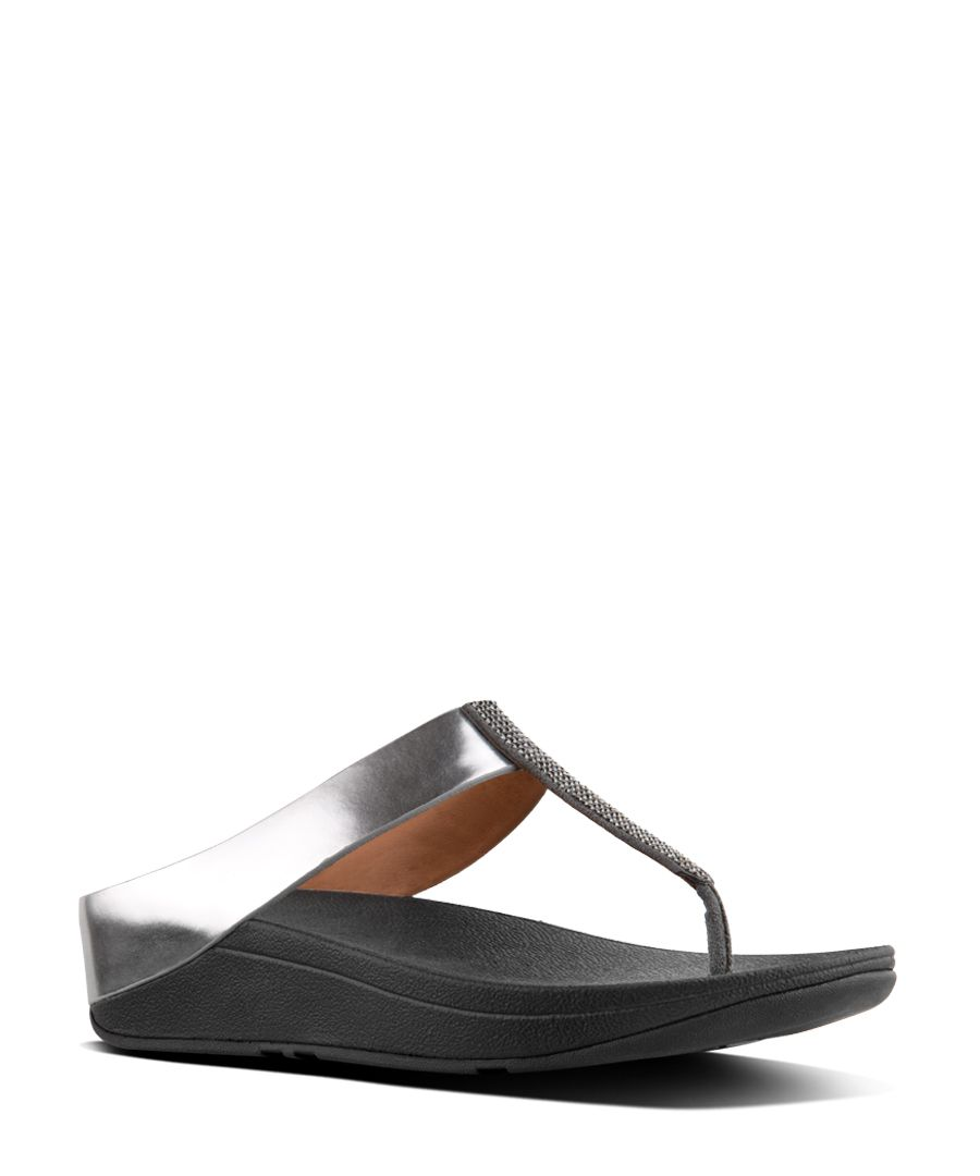 Fino Crystal pewter faux-leather toe-post sandals