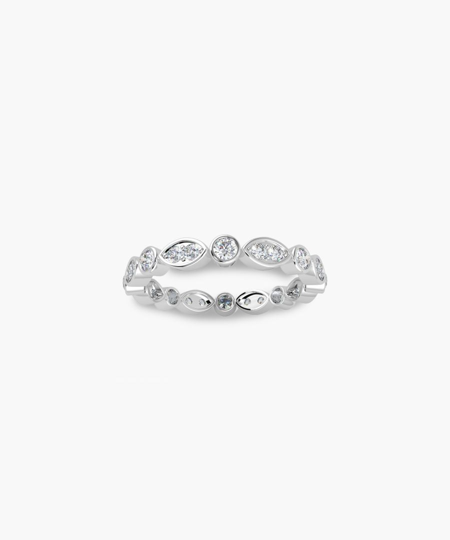 9k white gold 0.50ct marquise and round diamond ring