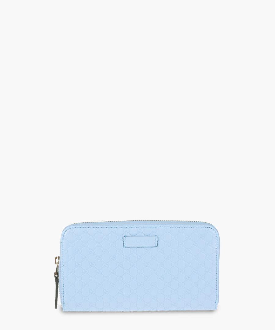 Guccissima pale blue leather zip-up purse