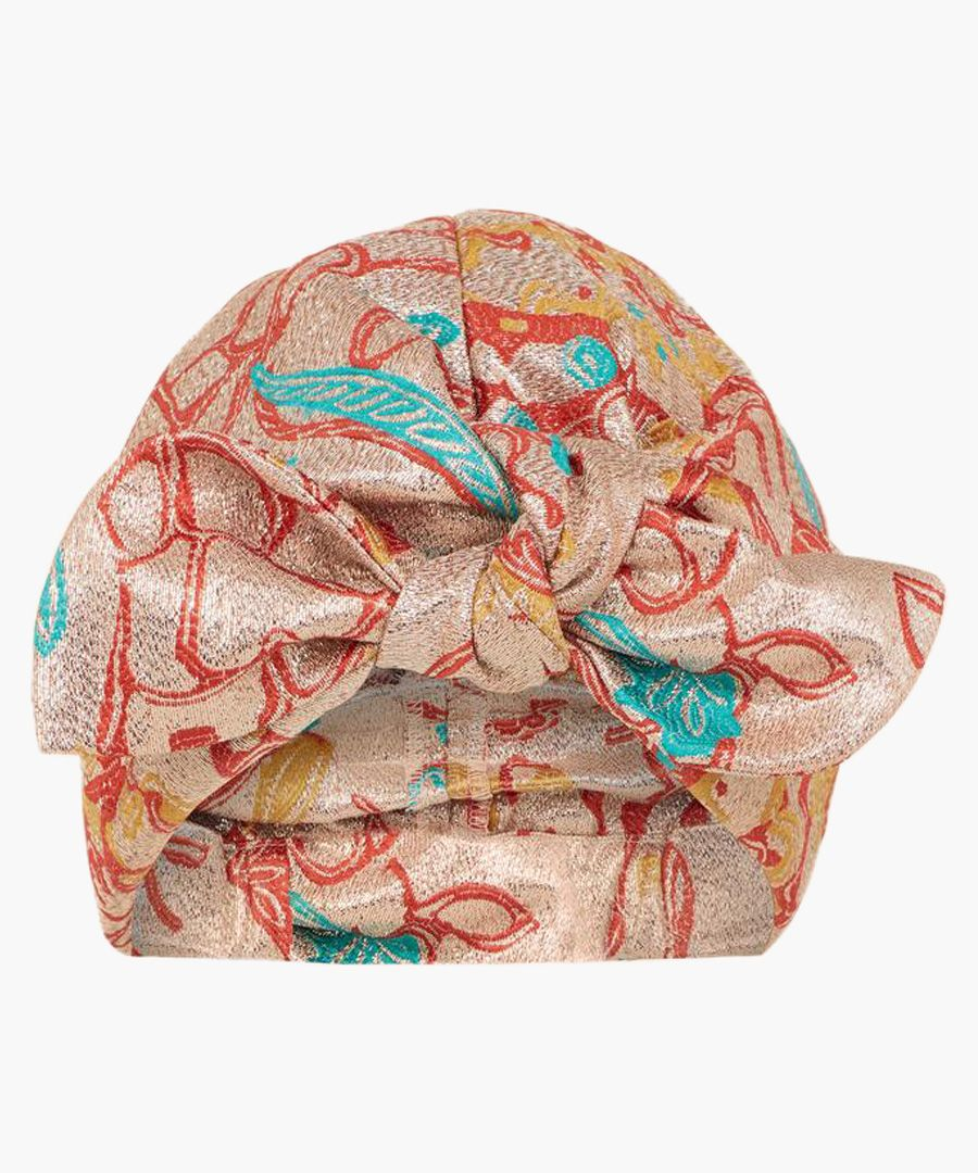 Multi-coloured silk blend turban