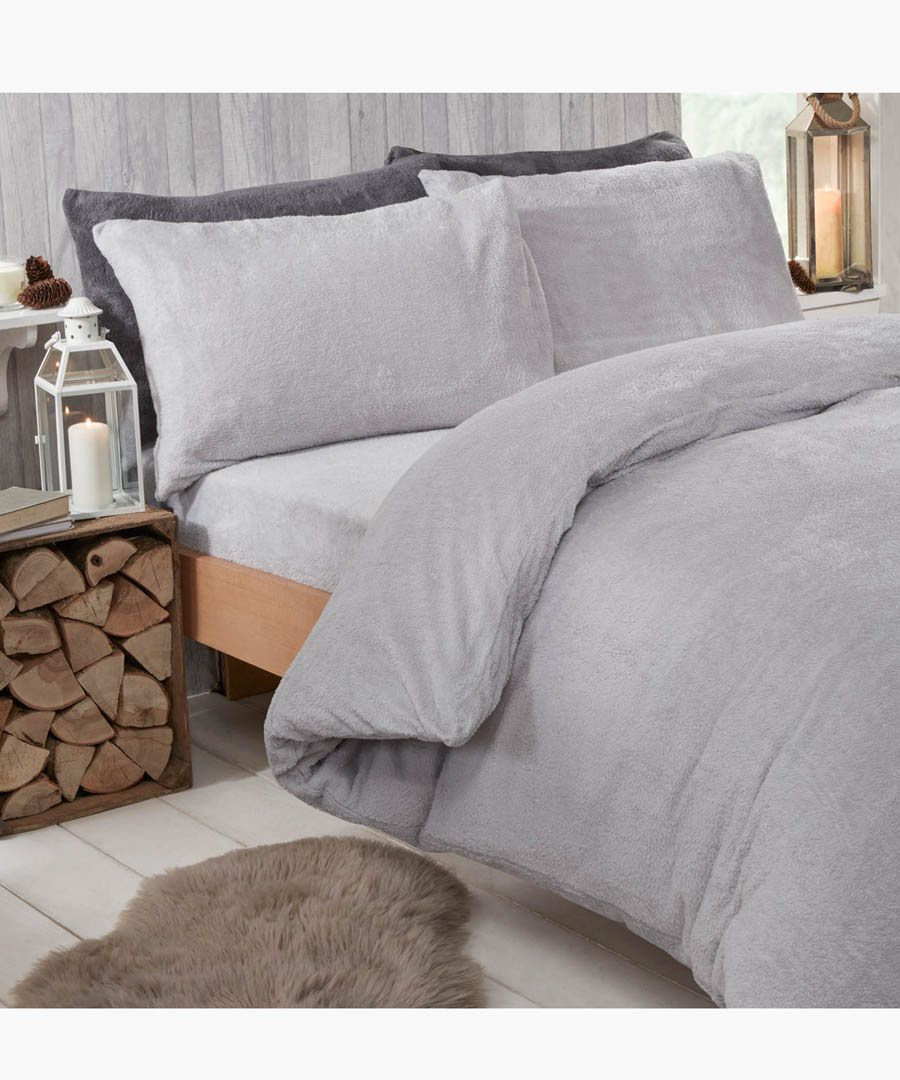 Grey teddy fleece king duvet set