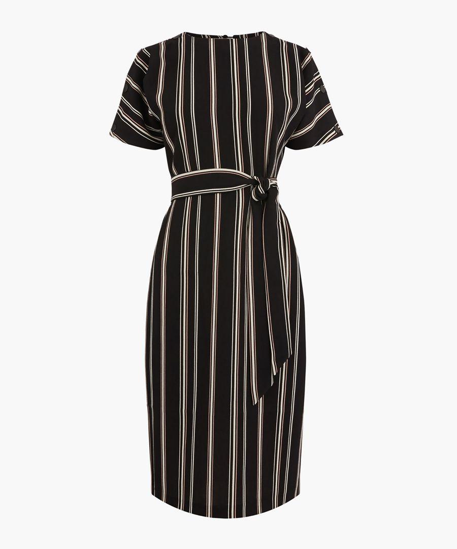 Multi stripe button wiggle dress
