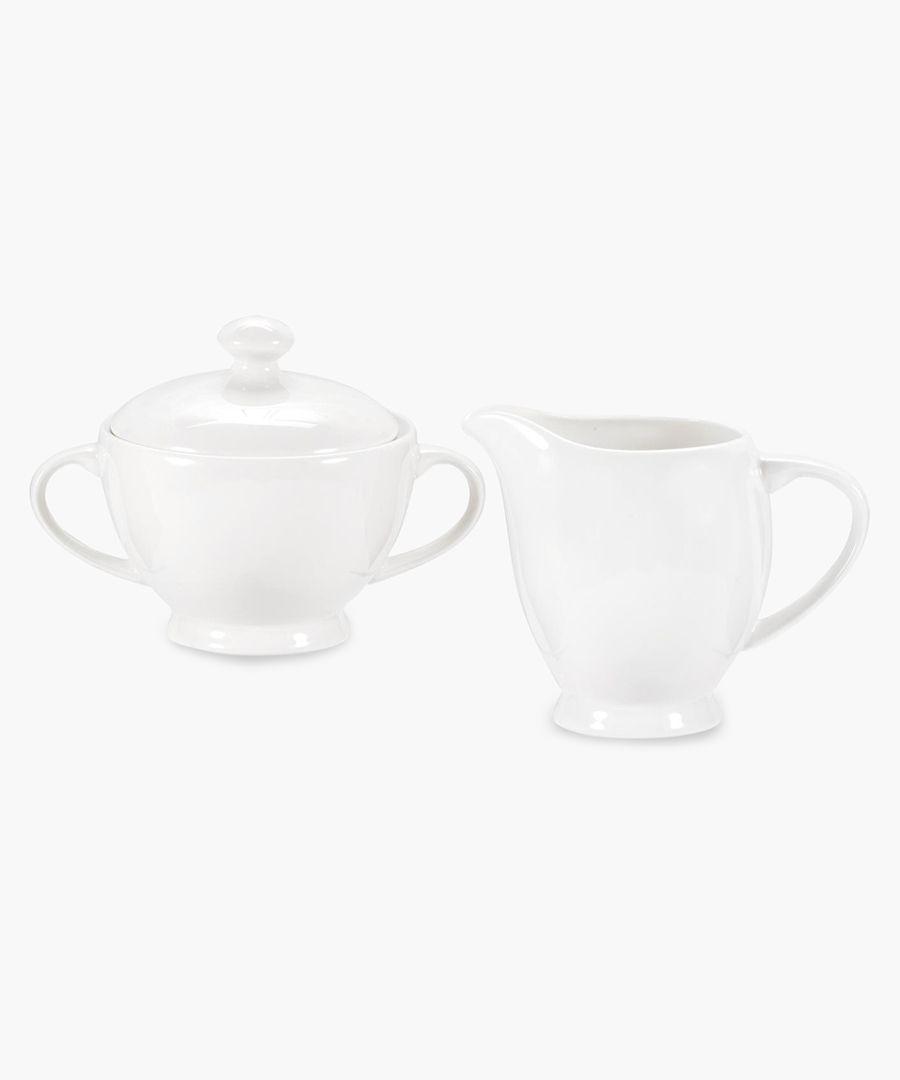 Serendipity plain white bone china sugar and cream