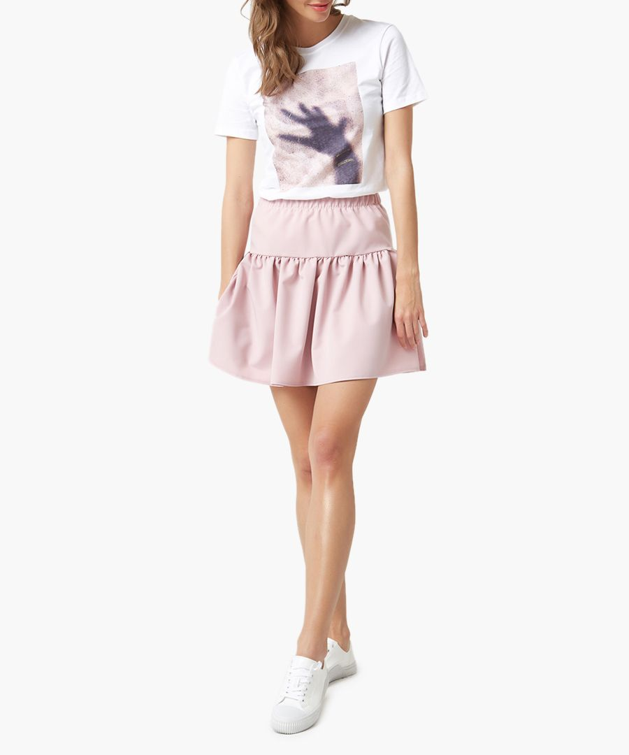 Powder pink fit & flare mini skirt