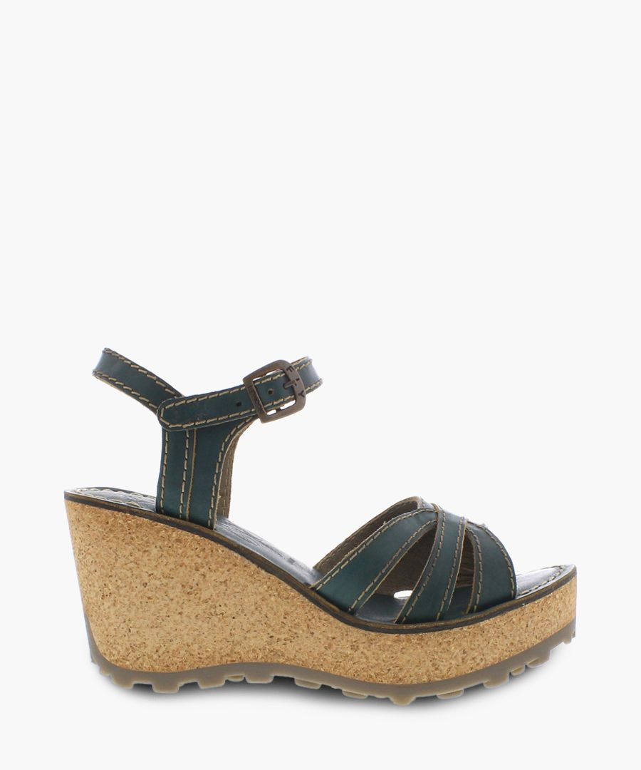 Nile green leather wedge sandals