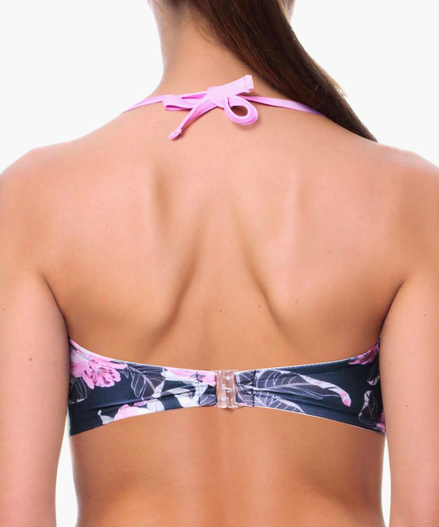 Fernanda black floral bikini top