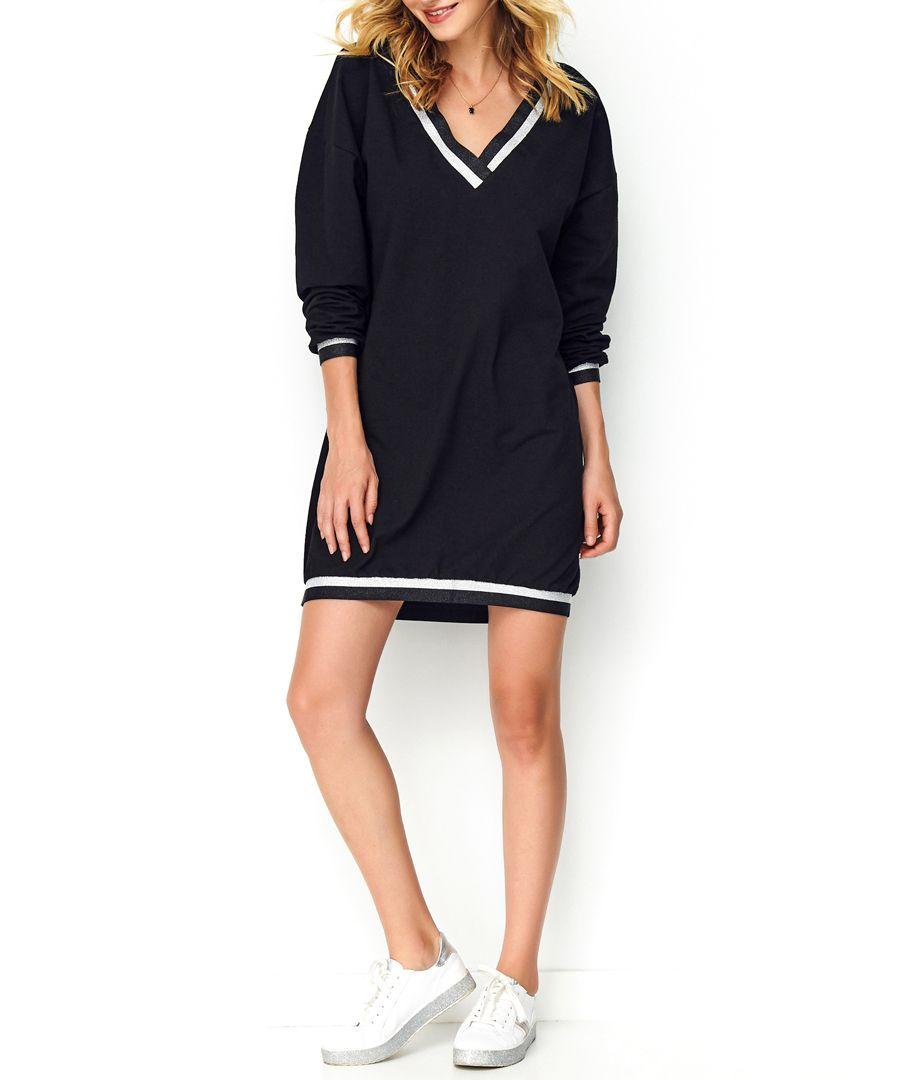 Black cotton blend V-neck jumper dress
